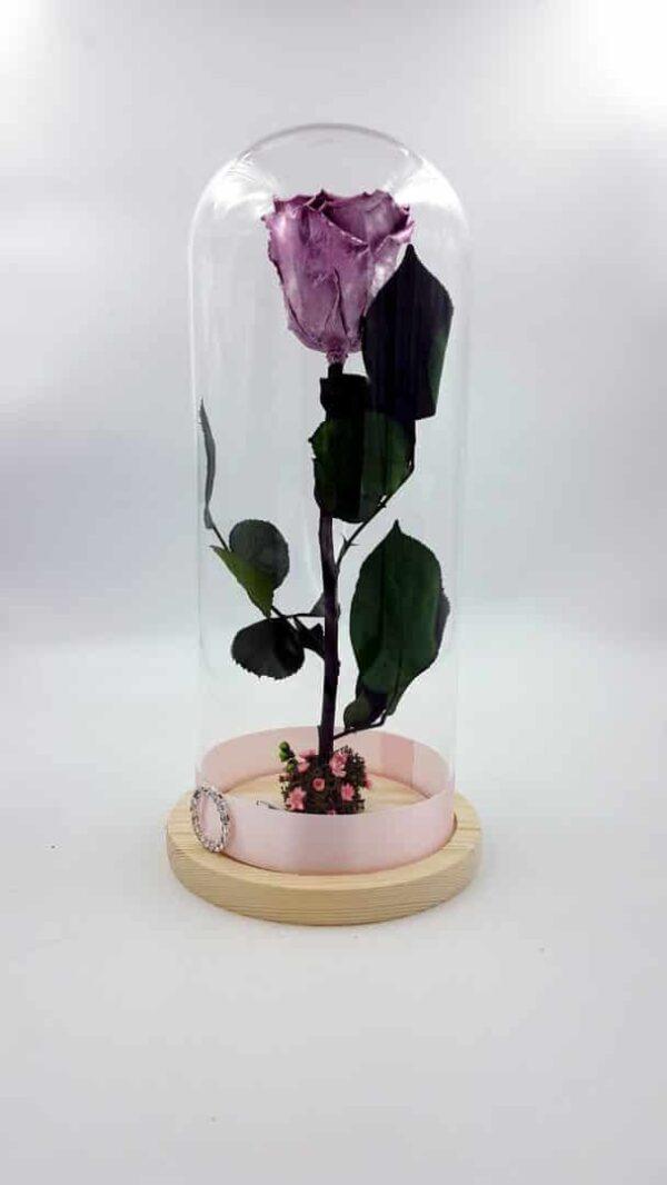 trandafir criogenat roz metalizat wide flowers in cupola de sticla