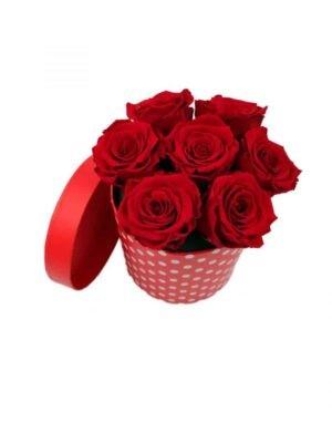 trandafiri criogenati rosi in cutie