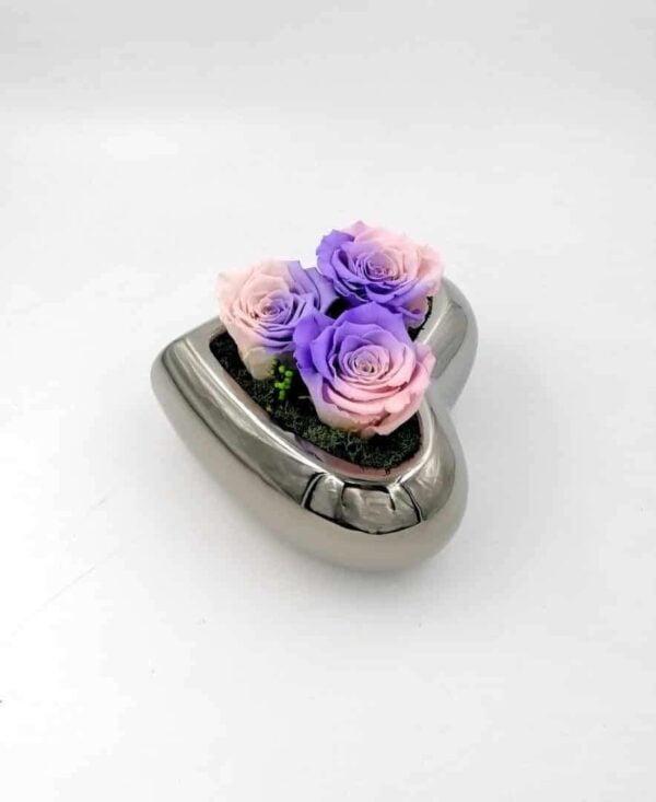 3 Trandafiri Naturali Criogenati Wide Flowers în inima lunii ceramică